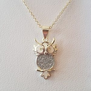 """Jewelry - 14k gold plated CZ Owl Necklace 18"""" inches"""